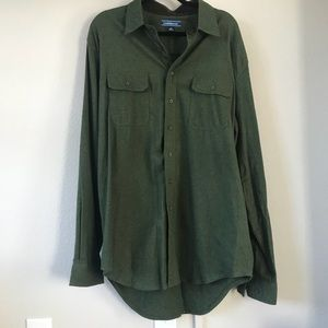 CROFT and BARROW CHAMOIS Green button down